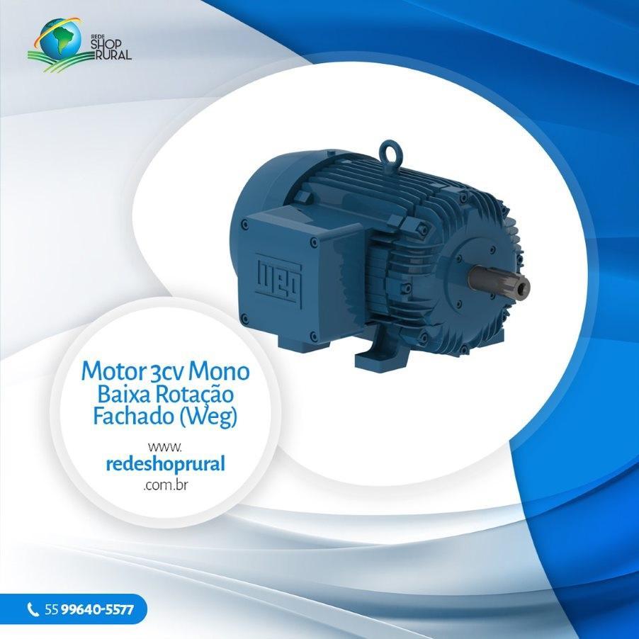 Motor 3cv Mono Baixa Rotação Fechado (WEG)